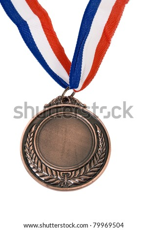 brown Medal & Ribbon on isolated background - stock photo