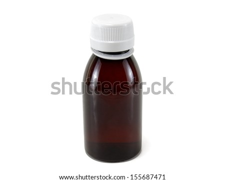 brown medical bottle on white background