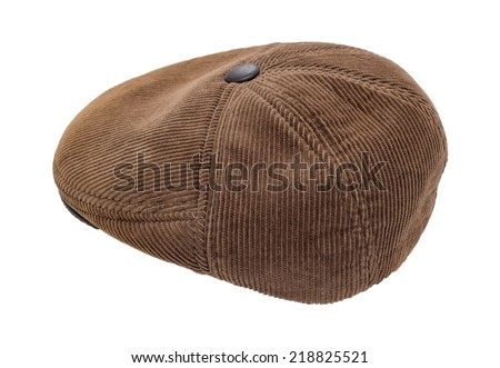 brown men's cap isolated isolated on a white background - stock photo