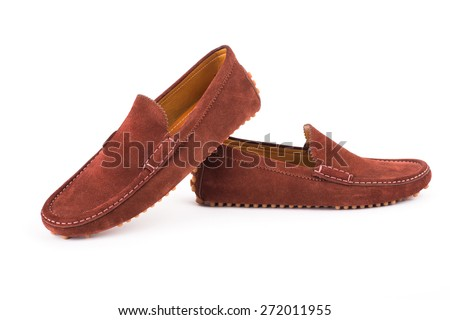 Brown mens suede leather loafers pair isolated on white background - stock photo