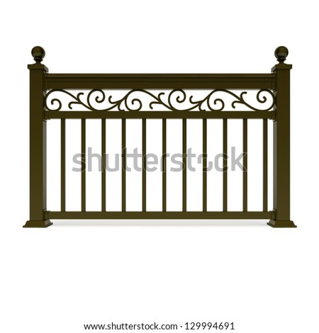 Brown metal railing with pattern - stock photo