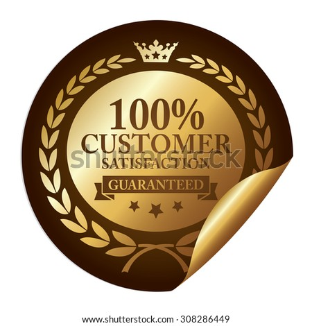 Brown Metallic 100% Customer Satisfaction Guaranteed Infographics Peeling Sticker, Icon, Sign or Label Isolated on White Background  - stock photo