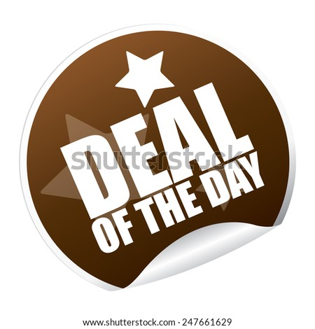 Brown Metallic Deal of The Day Sticker, Icon or Label Isolated on White Background  - stock photo