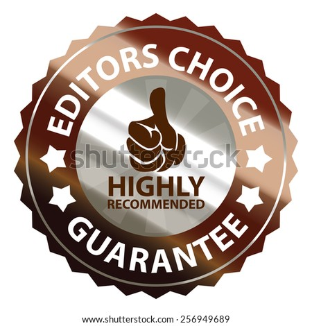 brown metallic editors choice guarantee highly recommended sticker, sign, badge, icon, label isolated on white - stock photo