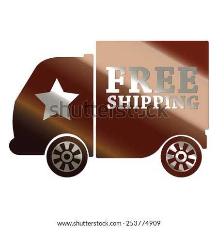 brown metallic free shipping sticker, sign, badge, icon, label isolated on white - stock photo