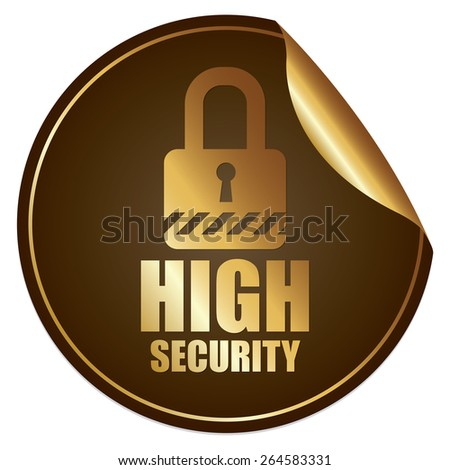 Brown Metallic High Security Sticker, Icon or Label Isolated on White Background  - stock photo