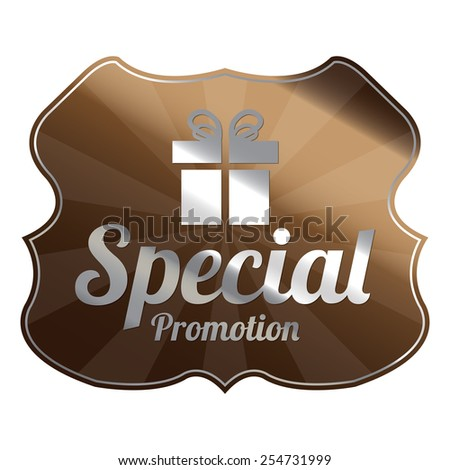 Brown Metallic Special Promotion Badge, Icon, Label, Sign or Sticker Isolated on White Background  - stock photo