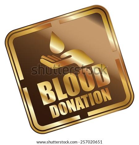 Brown Metallic Square Blood Donation Icon, Sticker, Banner, Tag, Sign or Label Isolated on White Background - stock photo