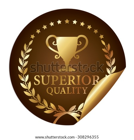 Brown Metallic Superior Quality Infographics Peeling Sticker, Icon, Badge, Sign or Label Isolated on White Background  - stock photo