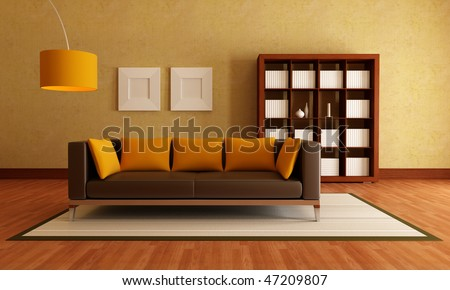 brown modern couch and wood bookcase in a living room / rendering