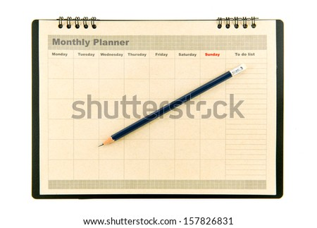 Brown Monthly planner - stock photo