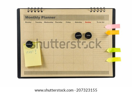 Brown Monthly planner isolated on white background - stock photo