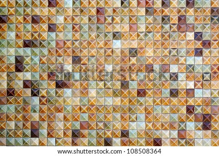 Brown mosaic tiles background texture