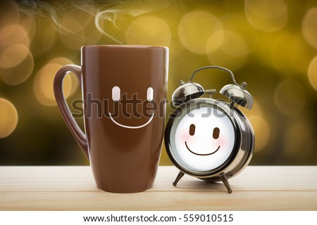 Good morning stock images royalty free images vectors brown mug alarm clock of coffee with a happy smile good night or have altavistaventures Images