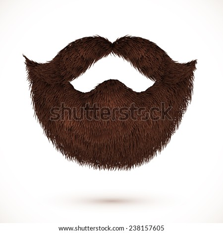 Brown mustaches and beard isolated on white background - stock photo
