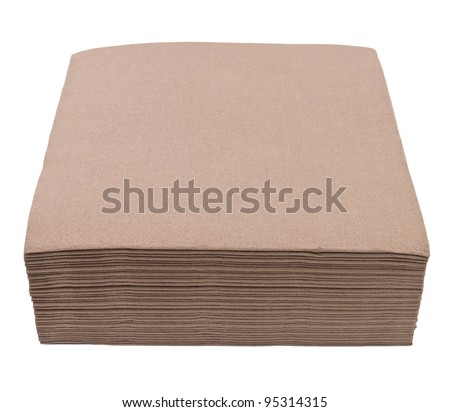 Brown napkins isolated on white background - stock photo