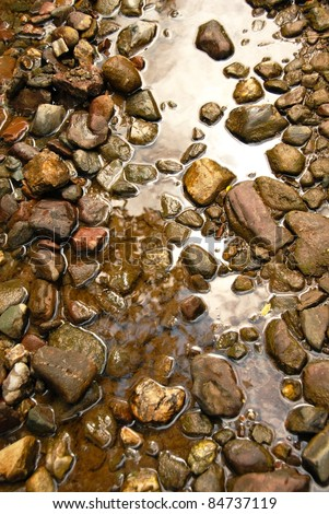 brown natural wet rocks in river water background
