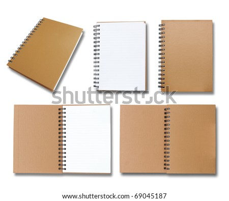 Brown note book collection - stock photo