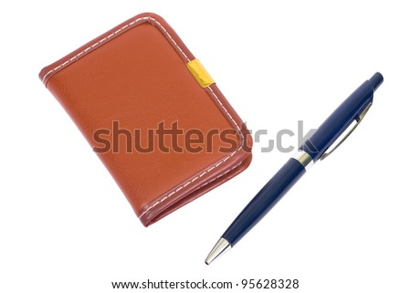 Brown notebook  and a blue pen. Isolated on white background, clipping path - stock photo