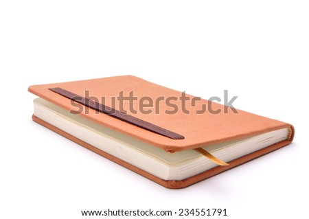 brown notebook for records on a white background - stock photo