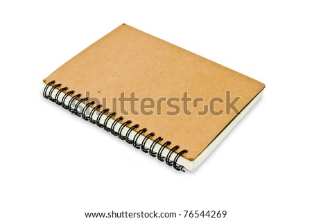 brown notebook on white background - stock photo
