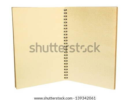 brown notebook opened on the middle page on white background