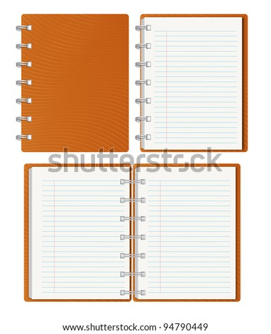 Brown notebook with blank cover isolated on white.