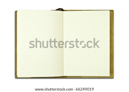 brown notebook with grid line paper isolated on white background - stock photo