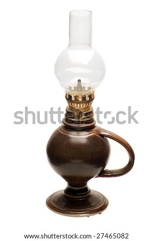Brown oil lamp isolated on a white background.
