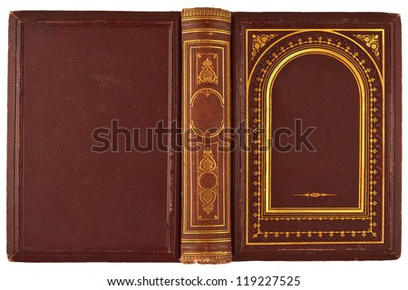 brown, old book with gilded ornament isolated on white - stock photo