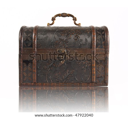 Brown old chest with intricate details, reflecting, isolated on a white background - stock photo