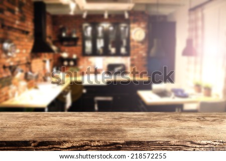 brown old desk in kitchen place and blurred  - stock photo