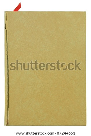 brown old leather book cover isolated on white - stock photo