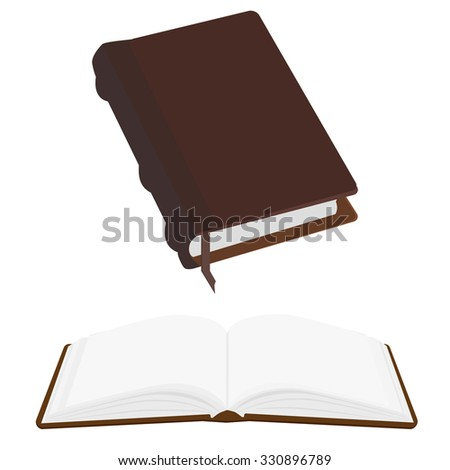 Brown old leather book empty with bookmark raster icon, literature, bible, law, organizer. Opened and closed book - stock photo