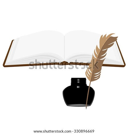 Brown old leather book with bookmark and black inkwell with feather raster set. Opened book - stock photo