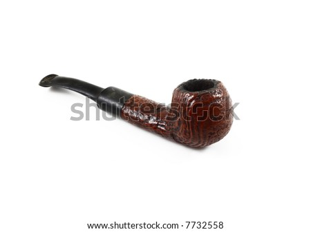 brown old tobacco pipe on white background