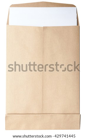 Brown open Envelope document on white background with white papers isolated on white - stock photo