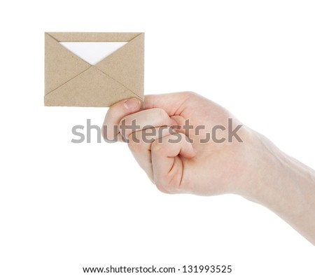 brown open envelope isolated on white background