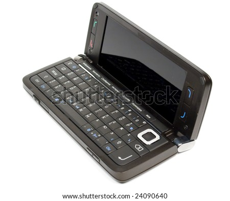 Brown opened palmtop with full keyboard on white