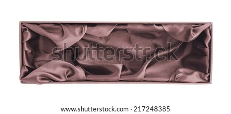 Brown opened tall gift box with the velvet cloth inside, isolated over the white background - stock photo