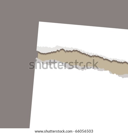 Brown or beige card with torn paper background with copyspace - stock photo