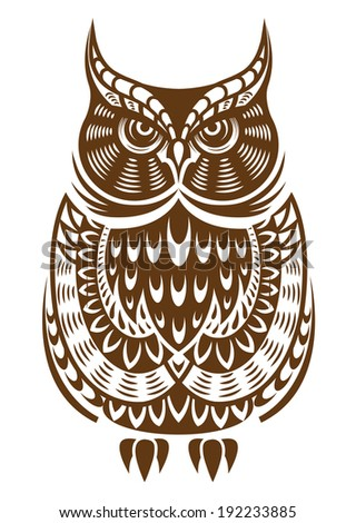Brown owl with decorative ornament isolated on white background. Vector version also available in gallery - stock photo