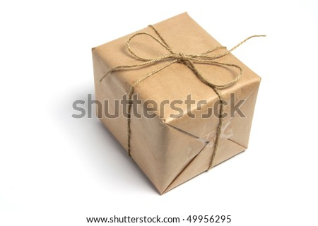 Brown Package on White Background - stock photo