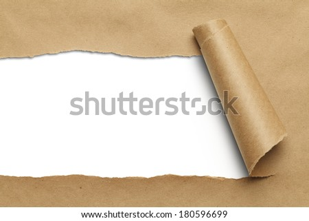 Brown Package Paper Rolled Up with White Background. - stock photo