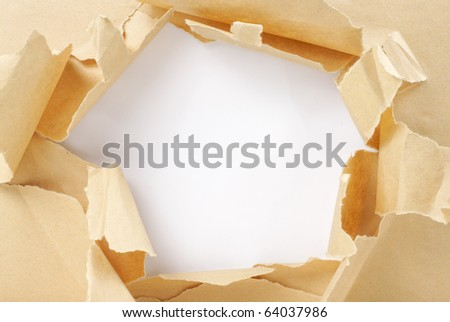 brown package paper torn - stock photo