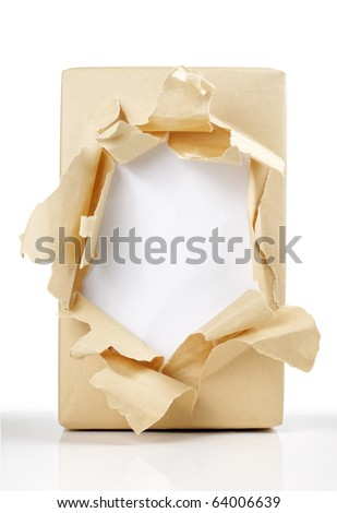 brown package torn - stock photo