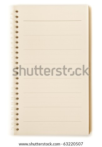 Brown page spiral notebook isolated on white background - stock photo
