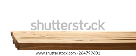 Brown paint coated wooden pine boards as a copyspace background composition isolated over the white background - stock photo