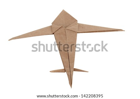 Brown Paper aircraft: Paper Plane isolated white background - stock photo
