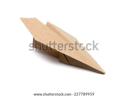 Brown Paper aircraft, Paper Plane on a white background - stock photo